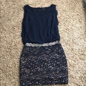 Navy sparkle belted dress